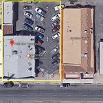 4233-4235 E. Tulare St., Fresno. Multi-tenant retail building for sale. Aerial photo of building with parking lot.