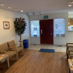3738 E. Shields Ave., Fresno. Dental Practice. Interior photos of waiting area. Front desk, door, and chairs.