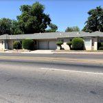 2405 N. Wishon Ave. & 745 E. Clinton Ave., Fresno. Exterior photos of duplex. Both units in shot. Facing Clinton Avenue. Beige building with blue trim.