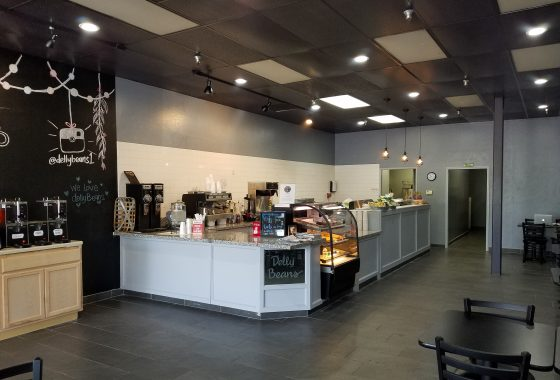 Sandwich and coffee shop business for sale. Interior photo of front counter from front door.