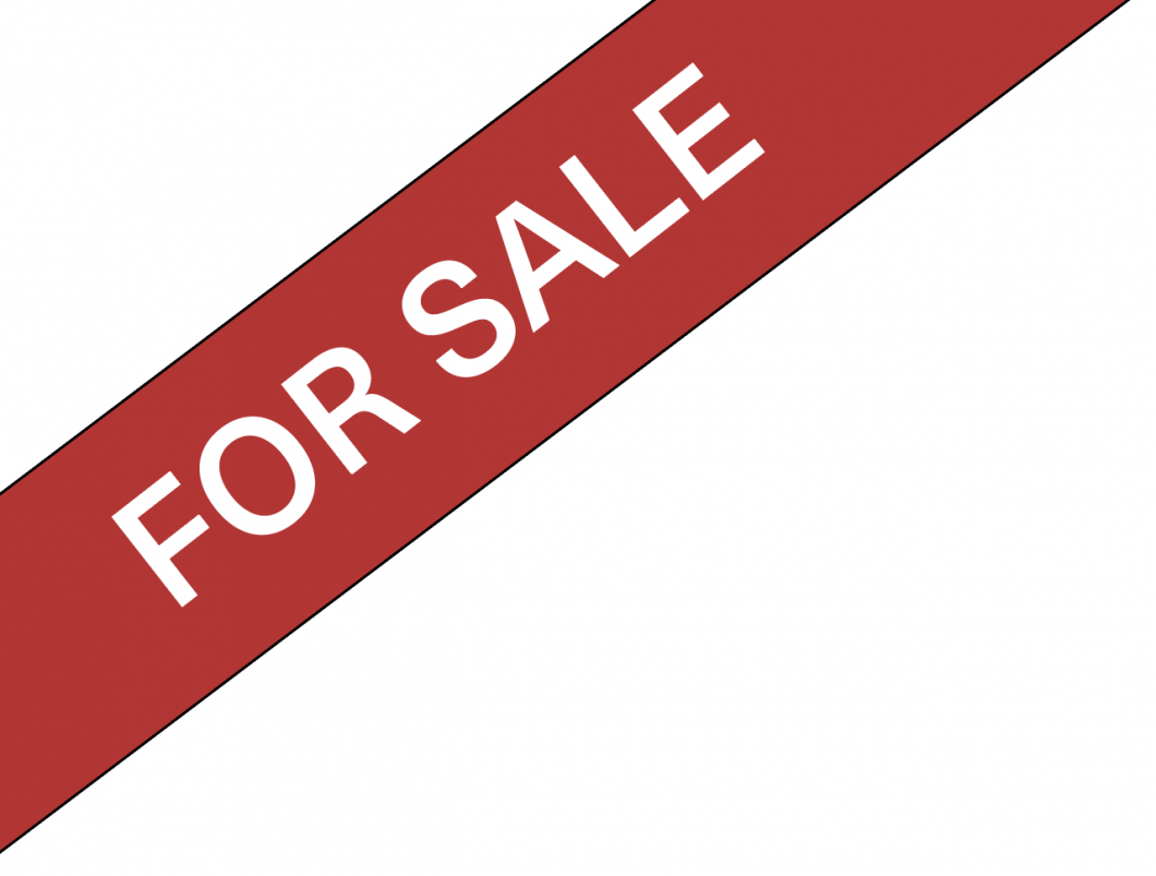 For Sale graphic. White lettering on red banner