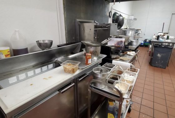 Kitchen space of a Chinese restaurant for sale.